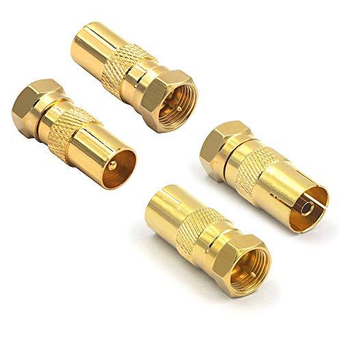 VCE 4 Stück Sat Antenne Adapter F Stecker auf IEC Stecker und F Stecker auf IEC Buchse Koxial Adapter für Koaxialkabel Antennenkabel