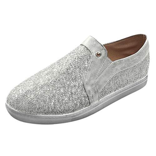 Brizz Dames-sneakers, fitnessschoenen, vlak, glanzend, ademende en comfortabele loopschoenen voor dames, sportschoenen om te hardlopen (zilver, 36-42.5)