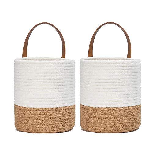 ASSR 2 cestini da appendere alla parete, cestino per piante, piccolo cesto in corda di cotone, porta piante da parete per casa, ufficio, bianco+cachi