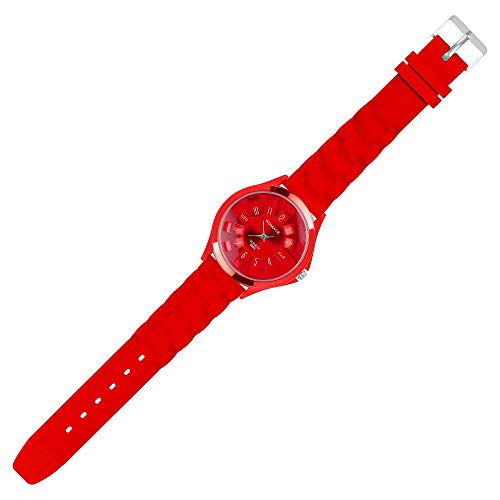 Taffstyle Unisex Armbanduhr Analog Quarz mit Silikon-Armband Metall Sportuhr Damen Herren Uhr Rot