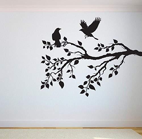 Wandaufkleber Wandtattoo Wandsticker Baum Vögel Fliegen Cartoons Pattens Blätter Zweige Vinyl Schlafzimmer Spielzimmer Wohnkultur Yoga Studio 50 × 42 cm