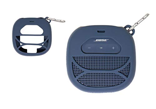 Silicone Cover Skin for Bose SoundLink Micro Portable Outdoor Speaker, by Alltravel, Full 6 Directions Protection, Customized Skin with Color and Shape Matching, Carabiner (Midnight Blue)