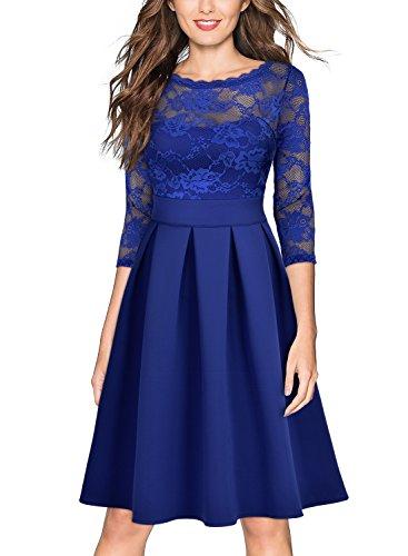 Miusol Cocktailkleid Spitzen 3/4 Arm Vintage Kleid Brautjungfer 50er Jahr Abendkleid Hellblau - 4