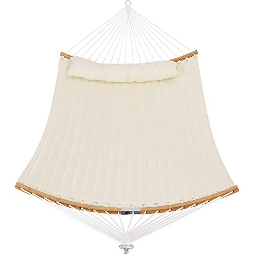 Patio Watcher 11 Feet Quilted Fabric Hammock with Curved-Bar Bamboo and Detachable Pillow, Double...