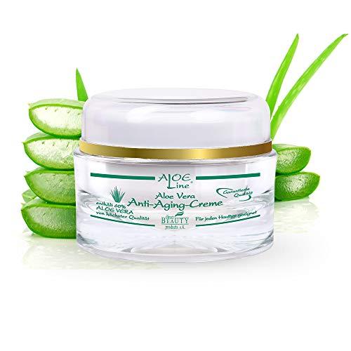 Aloe Vera Anti Aging 24h Gesichtscreme - enthält 60% Bio Aloe Vera, Acmella Oleracea & Q10 - verbessert effektiv das Hauterscheinungsbild & lindert Fältchen - Tag & Nachtcreme / 1er Pack (1x 50 ml)