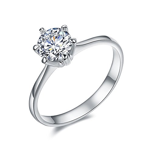 SPILOVE Serend 18k White Gold Plated 1 Carat Round Cubic Zirconia Solitaire Wedding Engagement Band Rings, Size 9