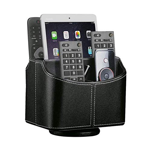 Rotatable Remote Control Holder 360 Degrees Spinning Desk Organizer, 5 Compartments PU Leather Coffee Table Caddy Basket for Remotes Controllers TV Guide Mail Electronics Tablet Media Storage, Black
