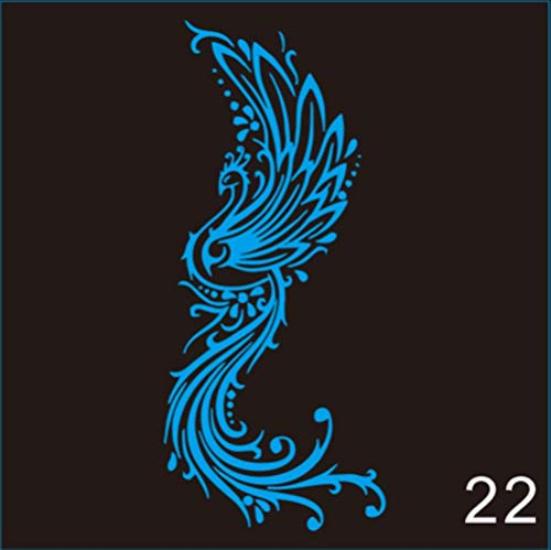 SNV 1pc Green/Blue Glow in The Dark Flash Tattoos Stickers Peacock Fox Music Flowers Fake,B22