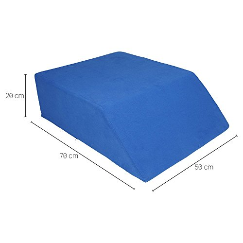 Sanolind Almohada Ortopédica de la Elevación de Las Piernas, Cojín para Las Venas/Tamaño 70 x 50 x 20 cm Almohada de Cuña (Azul)