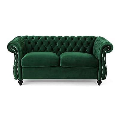 Karen Traditional Emerald and Dark Brown Chesterfield Loveseat Sofa