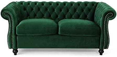 Best Christopher Knight Home 306028 Karen Traditional Chesterfield Loveseat Sofa, Emerald and Dark Brown,