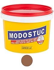 Originele MODOSTUC houten stopverf - 1 kg gebruiksklare vulmassa voor hout & muur, houtvuller, perfecte kleefkracht & sneldrogend, ideaal voor het herstellen van houtschade, kleur donker walnoot.