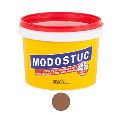 modostuc Noce Scuro - Stucco in Pasta Professionale Pronto all'Uso per Interni, Ideale per Legno e Muro a Rapida Essiccazione e Perfetta Adesione, 1 kg.
