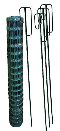 UvV Set grün 4 Absperrhalter und 10 Meter Fangzaun, Absperrnetz, Maschenzaun auf Rolle Kunststoff Reissfest, 150 gr qm