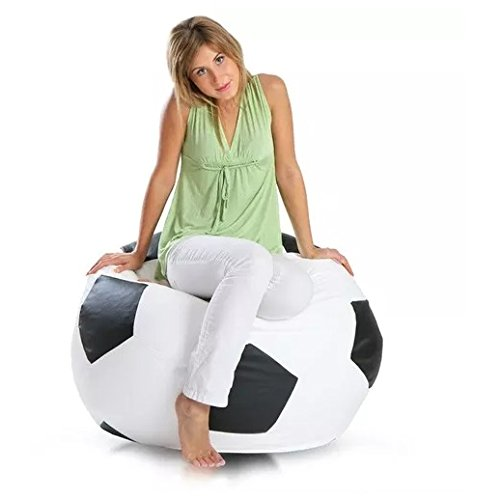 Sillon Puff Balon Soccer Mediano, Blanco con Negro, 75 cm diametro