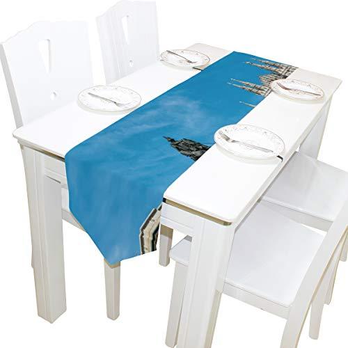 Yushg Ungewöhnlich schöne Mailänder Dom Kommode Schal Stoffbezug Tischläufer Tischdecke Tischset Küche Esszimmer Wohnzimmer Home Hochzeitsbankett Dekor Indoor 13 x 90 Zoll