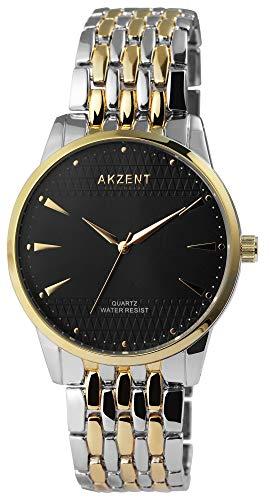 Akzent - Reloj de pulsera analógico para hombre, color negro y plateado y oro rosa