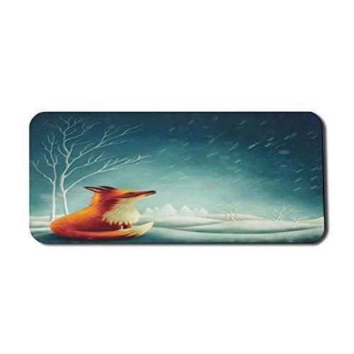 Forest Computer Mouse Pad, Kleiner Fuchs auf dem Hügel mit Blick auf den Himmel im regnerischen Winter Ländliche Pastoral, Rechteck rutschfestes Gummi-Mauspad X-große Spielgröße, dunkles blaugrünes Zi