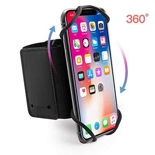 Hianjoo Running Armband, 360°drehbar Sport Armband Handy mit Ersatzarmbändern, Sportarmband Kompatibel mit alle 4-6.5 Zoll Smartphones [Atmungsaktiv]
