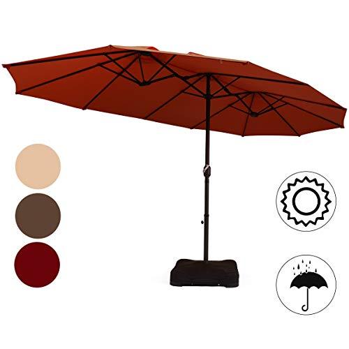 COSTWAY 460x270cm Sonnenschirm mit Basis Doppelsonnenschirm, Kurbelschirm Gartenschirm Marktschirm Terrassenschirm Strandschirm Ampelschirm Farbwahl (Weinrot)