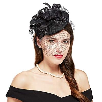 BABEYOND Women's Pillbox Fascinators Hat Headband Tea Party Fascinator Hat Veil Kentucky Derby Hat for Cocktail