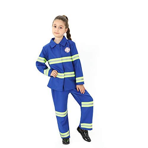 Sincere Party Disfraz de bombero para nios Disfraz de bombero para juegos de rol, Disfraz de bombero para nios Azul 5-7 aos