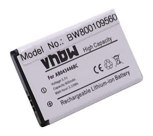 vhbw Li-Ion Akku 900mAh (3.7V) für Handy Smartphone Handy Samsung SGH-X168, SGH-X180, SGH-X200, SGH-X208 wie AB043446B, AB043446L, BST3108BC.