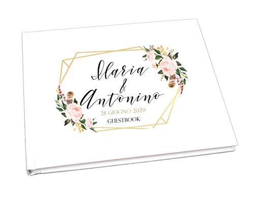 Guestbook matrimonio - libro dediche e auguri invitati personalizzato boho chic fiori acquerello