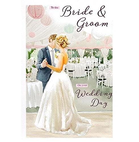 Biglietto d' auguri (ICG6805)–matrimonio–sposa & sposo–dalla serie Essence–con finitura a secco e brillantini.