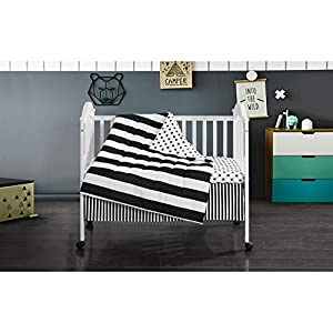 Heritage Kids Mini Mod Bedding Set, Crib, Black