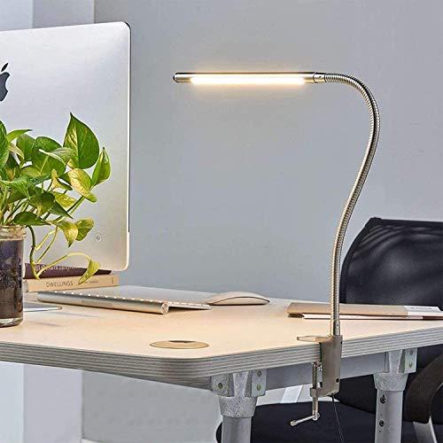 LED Klemmleuchte mit Touch Schalter & Kabel, Leselampe Klemmlampe 360° Flexibel Schwanenhals Klemme Lampe Chrom Bett Schreibtischlampe, Clip Tischleuchte für Lesen Schlafzimmer Büro Schreibtisch Malen