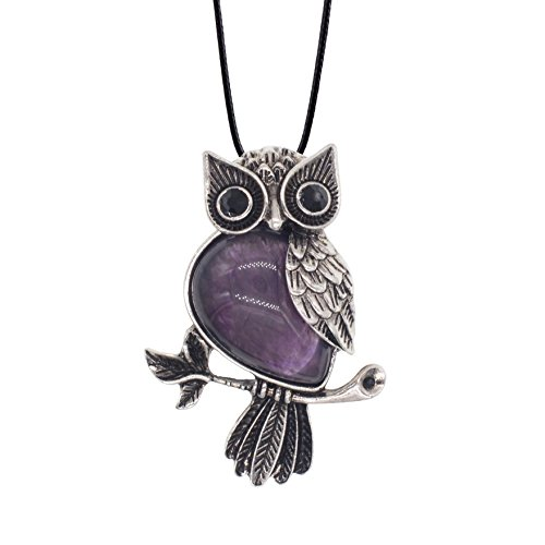 ZHEPIN Owl Necklace Amethyst Healing Pendant Nekclace for Women Men Spiritual Energy Gemstone Necklace - 19 inches
