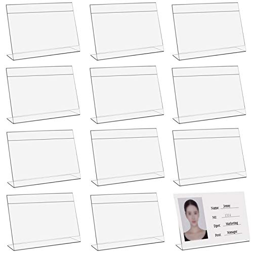 Acryl Tischschilde Etikettenhalter Kunststoff L-Aufsteller Label Regal Zeichen Display Halter Halter für Namensschilder für Büro Shop Supermarkt Werbeaktionen Restaurants Transparent 6 x 4 cm 12 Stück