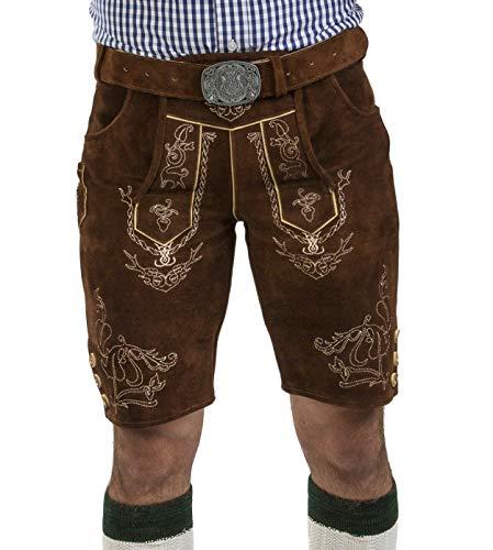 Herren Lederhose Wiesnjäger mit Trachtengürtel - Herren Trachtenlederhose Oktoberfest mit Gürtel - Trachtenhose kurz Gürtel (46, Nussbraun)