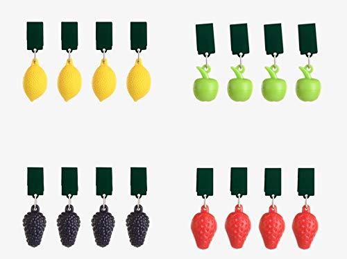 EsschertDesign 16 STK Tischdeckenbeschwerer Obst bunt farbig Tischdeckenklammern Gewichte schwer Tischdecken Hänger Tischdeckenklammern Äpfel Zitronen Weintrauben Erdbeeren