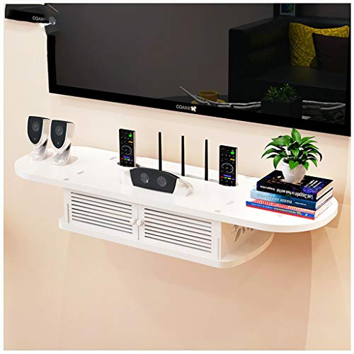 LZG Wand- Schwimm TV Regal mit Tür, 2 Tier Schrank Regal TV-Konsole Router Regal DVD Set-Top-Box Telefon Storage Rack Hängen Box