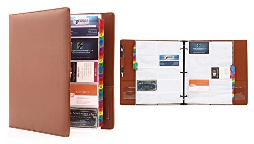 2Fold Supply Deluxe PU Leather Large 600 Business Card 3 Ring Binder Organizer with Alphabetical Index - 30 Double Sided Protector Pages Included (Brown)