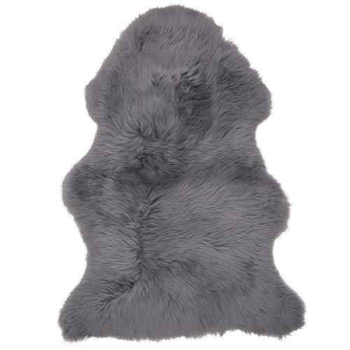 Lambland Luxury Genuine Real Slate Grey Sheepskin Rug Size Single