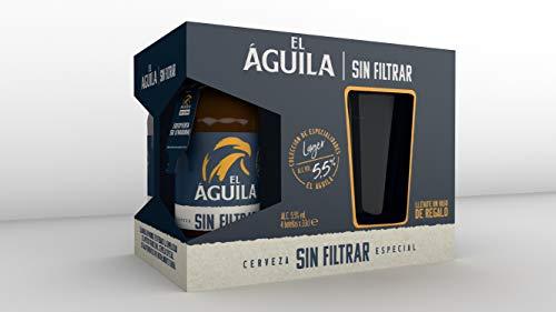 El Aguila Cerveza Especial sin Filtrar con Vaso, Paquete de 4 x 33cl