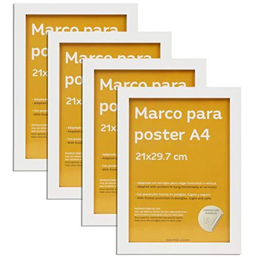 Nacnic Set de 4 Marcos Blancos tamaño A4-21x29.7cm. Marco de Color Blanco