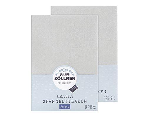 Julius Zöllner 8380347510 Jersey Spannbetttuch Doppelpack für das Kinderbett, Gr. 60x120 / 70x140, hellgrau
