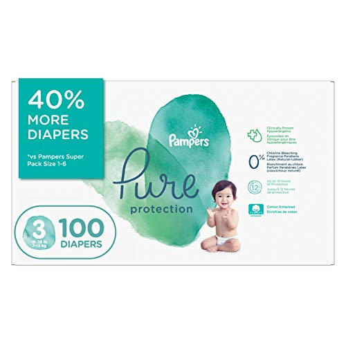 Diapers Size 3 - Pampers Pure Protection Disposable Baby Diapers, 100 Count,...