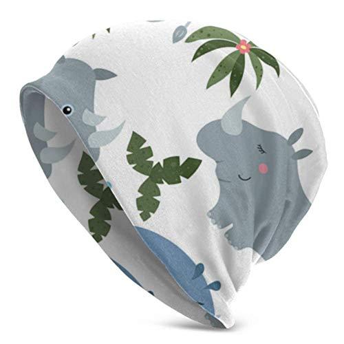 Peeeenny Beeen Big Tough Rhino Cartoon Cartoon Knitted Hat para Mujeres Sombreros de Punto para Hombres Sombrero de Gorros de Punto para Hombres Hombres de Punto Impreso en 3D