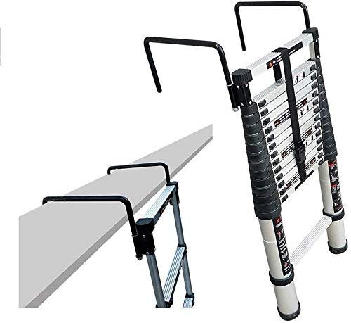 TUONAZDZ Robusto Telescópica Escalera Plegable de Aluminio Portable Extensión Escalera con Gancho for Ministerio Almacén Edificio Uso, 330 LB Gran Capacidad de Carga (Size : 4.4m/14.5ft)