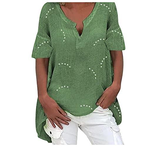 BUDAA Mujeres Casual Top V Cuello Resumen Vacaciones Camisas Manga Corta Irregular Hem Camisa suelta Señoras Puentes Verde