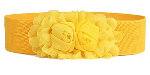 Women's Elastic Stretch Wide Rose Double-Flower Waist Belts for Dress (Yellow)