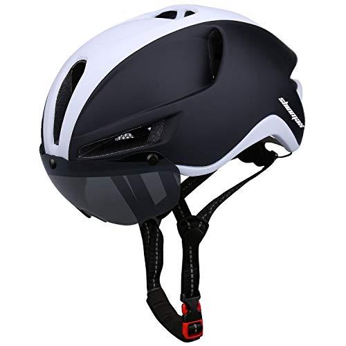 Shinmax Fahrradhelm für Herren Damen,CE Zertifikat,Fahrradhelm mit Abnehmbarer Magnetische Visier,Fahrradhelm mit Reflektierende Sicherheitsseilschnalle & Wiederaufladbar Sicherheit LED-licht(RC-088)