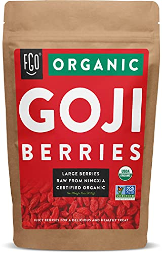 Organic Goji Berries | Large & Chewy | Every Batch Lab-Tested | 16oz Resealable Kraft Bag | 100% Raw From Ningxia | by FGO