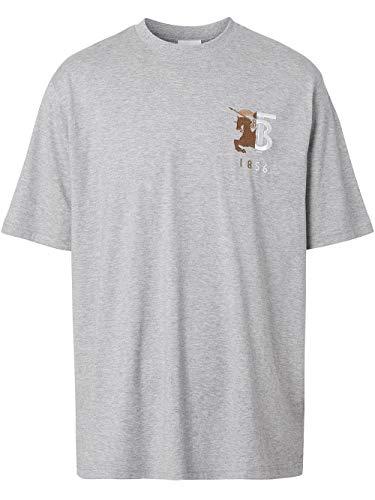 BURBERRY Luxury Fashion Herren 8025650 Grau T-Shirt   Jahreszeit Permanent