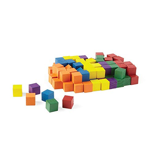 Wood 1-Inch Color Cubes, Set of 100